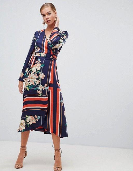 27401604830 Boohoo kimono sleeve midi dress in mixed stripe and floral print in ...