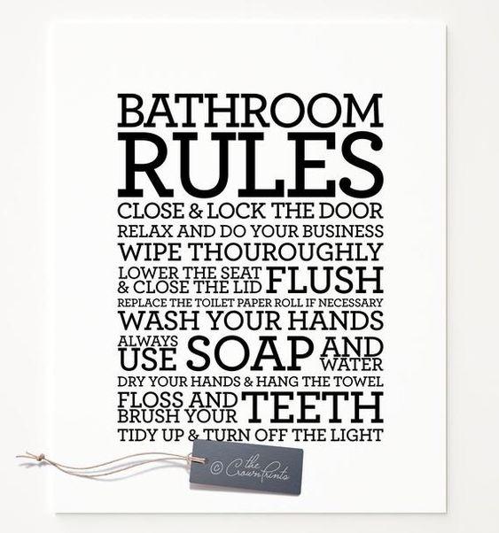 Bathroom Rules Sign Printable Art Bathroom Decor Bathroom Etsy Reglas De Baño Etsy