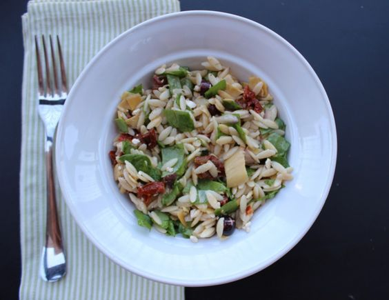Mediterranean Orzo Salad with Feta Vinaigrette from Cooking Light