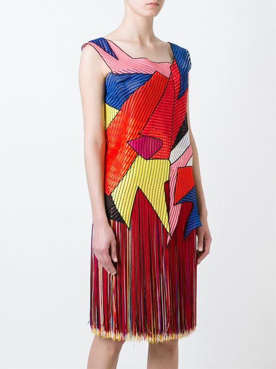 Christopher Kane patchwork fringed dress