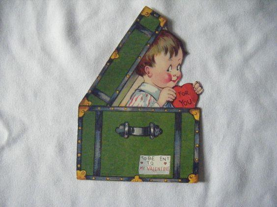 Charles Twelvetrees Valentine: Antique German valentine-boy in suitcase
