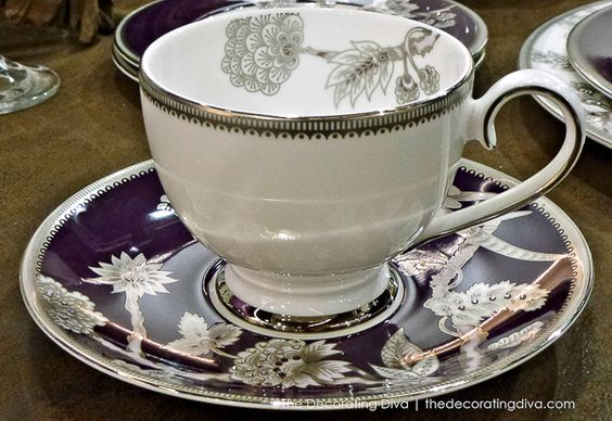 Prouna Pavo Silver Fine Bone China Cup & Saucer in Purple and White