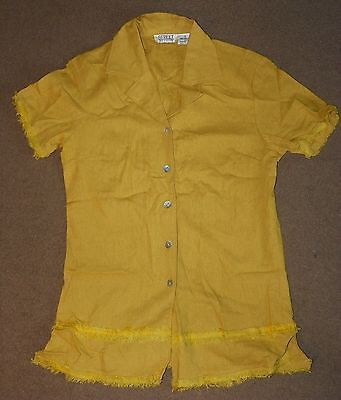 Womens STREET FASHION Mustard Yellow Button Up TOP Size S Small Short Sleeve | eBay