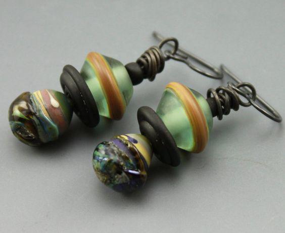 Rustic Earrings Rustic Boho Earrings Boho Earrings Rustic Teal Earrings Rustic Glass Earrings #396-114 (42.00 USD) by ChrisKaitlynJewelry - handmade - jewelry - jewellery - artisan ---