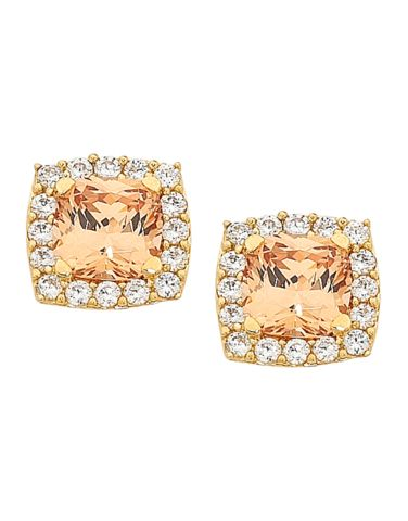 CZ Studs - Yellow Champagne Cubic Zirconia Stud Earrings - 754836 – Salera's Jewellmasters