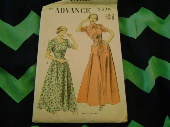 VINTAGE ADVANCE SEWING PATTERN 1940S OR 1950S MAXI DRESS SZ 14 #Advance