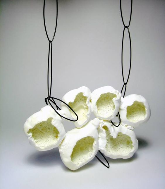 "Hakan Aktug - ""Unpredictable form, Foam' necklace - Foam, oxidised silver, paint."