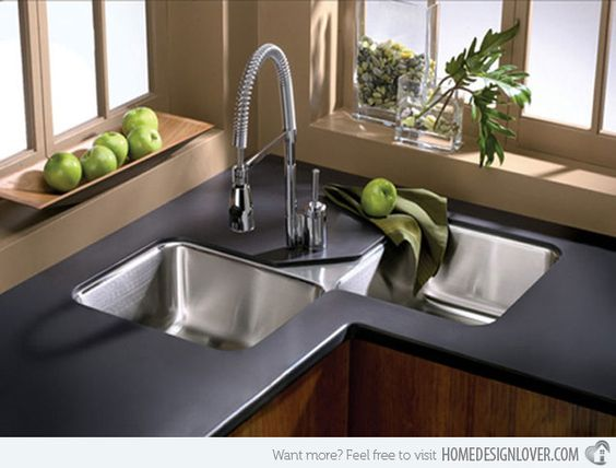 Not sure how I feel about the split corner sink, but there do seem to be a lot available in this style and it potentially affords more sink space.