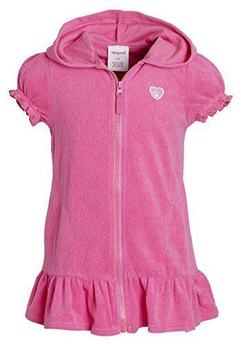 Sportoli Girls Cotton Warm Short Sleeve Terry Beach Swimsuit Wrap Coverup Cover up Swim Robe Swimwear with Hood