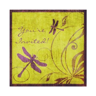 Purple and Green Dragonfly Wedding Invitation  Invitation features purple and green colors with beautiful flourishes and purple dragonflies surrounding fully customizable text. Invitation has been given a vintage effect for an extra special touch for a country garden wedding