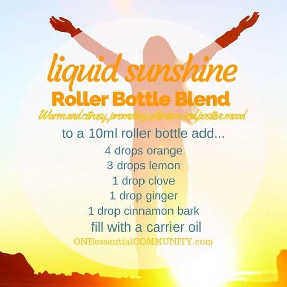 """liquid sunshine"" roller bottle blend promotes a positive mood-- LOVE this…"