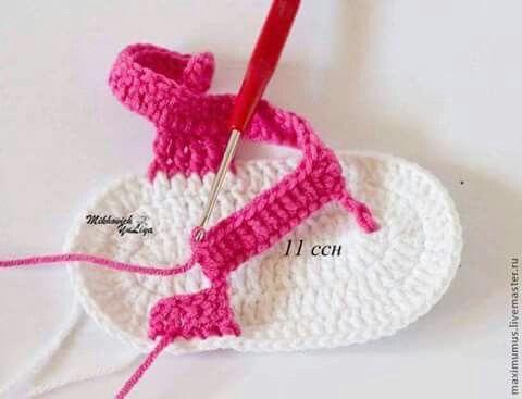 Sandalias para bebé a ganchillo paso a paso.