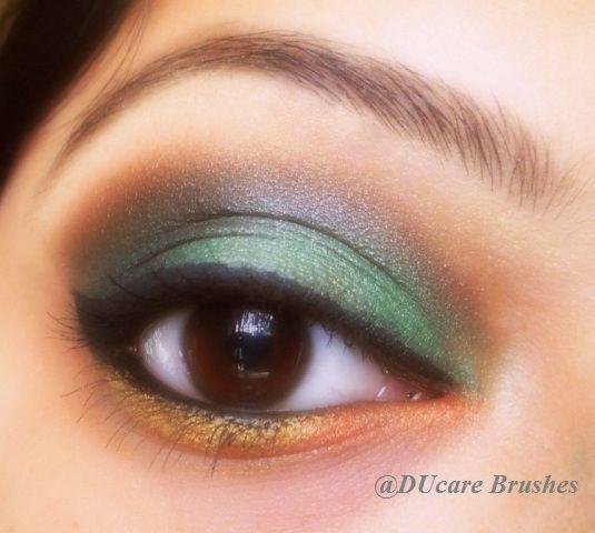 Green, Orange & Gold Eyemakeup Tutorial
