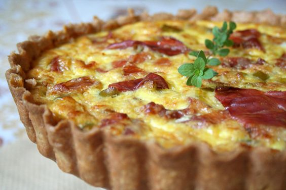 Whole Wheat, Green (Spring) Garlic and Prosciutto Tart