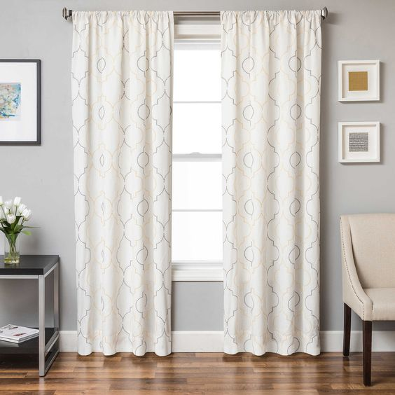 Bed Bath And Beyond Blackout Curtains Monza 63-Inch Window Curtain Panel in Yellow/Grey   Area ...