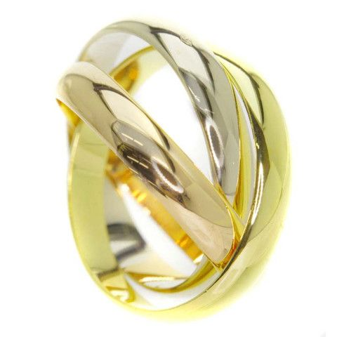 Cartier 18k Yellow/White/Pink Gold Trinity Ring Us Size 5.75