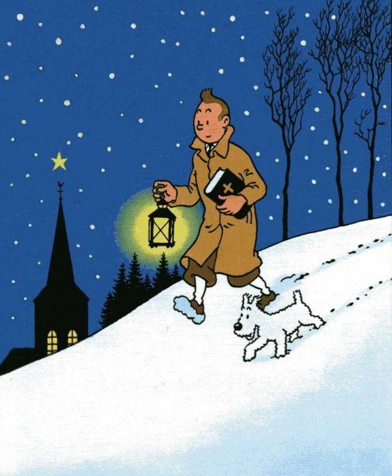 ランプを片手に雪の降り積もる坂を下るタンタンの画像
