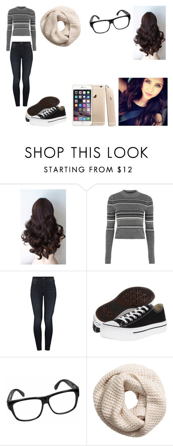"""""""First day of school"""" by danniecullen ❤ liked on Polyvore featuring Topshop, Mother, Converse and H&M"""
