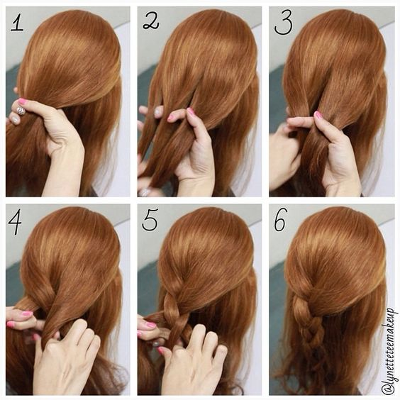 Three strand braid step by step  1. Take the hair you want to braid 2. Separate it into 3 equal pieces 3. Cross left strand over the middle strand 4. Cross right strand over the middle strand 5. Continue alternating sides 6. Finished