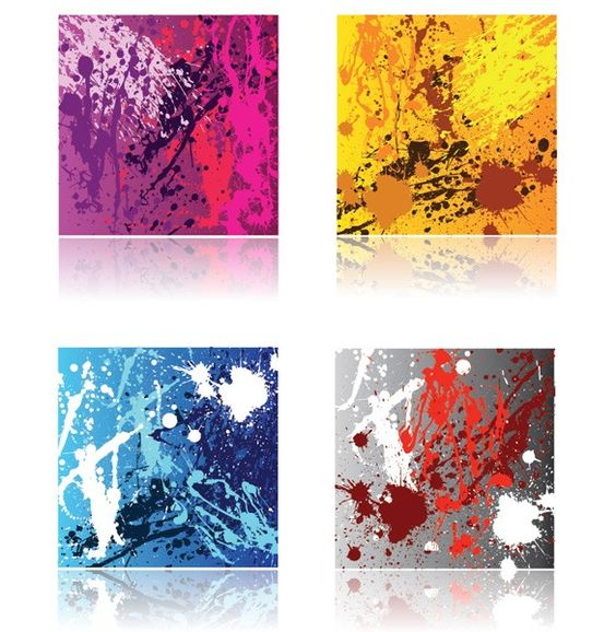 XOO Plate :: 4 Grunge Paint Splatter Vector Backgrounds - 4 Grunge splash and splatter paint vector backgrounds in different color variations. EPS format.