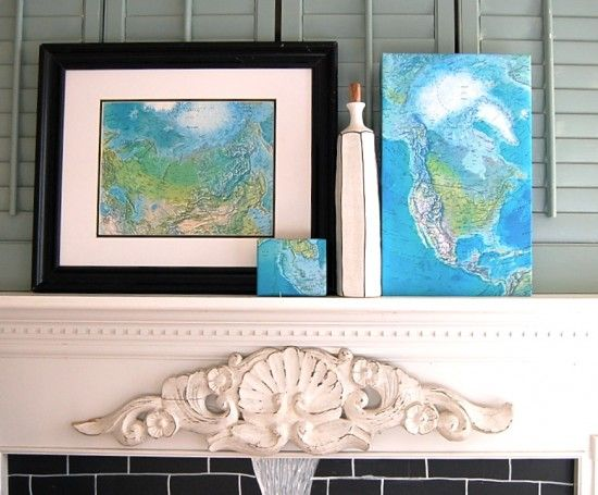 What a great idea to frame maps - love the colour combination of the black frame, white mat and blue of the map. Looks so crisp!