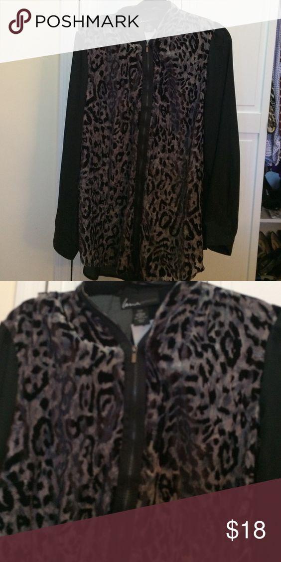Lane Bryant zip up top NWT zip up blouse. animal print.  size 18/20 Lane Bryant Tops