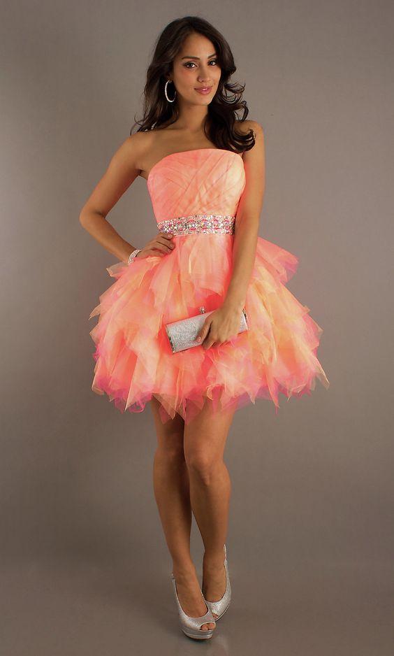 2013 Hot Strapless Cute Cheap Orange Pink Short Mini Beads Tulle ...
