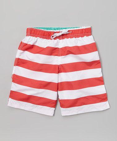 Sand Castle Red & White Stripe Swim Trunks - Boys | Boys, Red and Swim