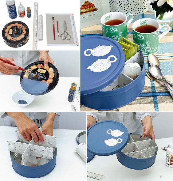 This Cookie-Tin Box for Tea Bags Storage....Easy do it yourself storage ideas to be More Organized this Year #DIYCrafts