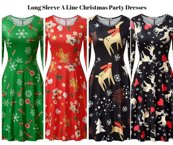 Womens Long Sleeve A Line Christmas Party Dresses