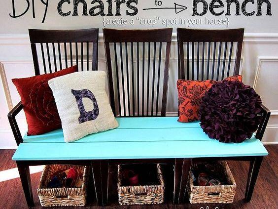cr er un banc avec des chaises relooking et recyclage meuble 40 id es pour donner une. Black Bedroom Furniture Sets. Home Design Ideas