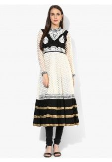Off White Embroidered Cotton Anarkali