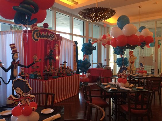 Cat in the hat kids party decoration ideas Cat in the hat themed cake table decoration.  http://www.dreamarkevents.com/ #Dr.Seuss #catinthehat #party #kidsparty #decoration #draping #centerpiece #partydecoration #ballooncolumns #balloonarch #balloondecoration #Themedparty #parkpavilion #parkdecoration #Kidsentertainment #thingone #thingtwo #drsuess #partydecoration #partyplaner #fortlauderdale #miami #bocaraton #palmbeach