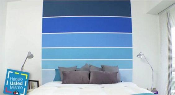 C mo pintar la pared a rayas horizontales con efecto degradado deco pinterest ideas y pintura - Pintar paredes a rayas horizontales ...