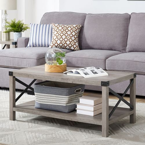 Modern Farmhouse Gray Wash Coffee Table Coffee Table Coffee Table Grey X Frame Coffee Table