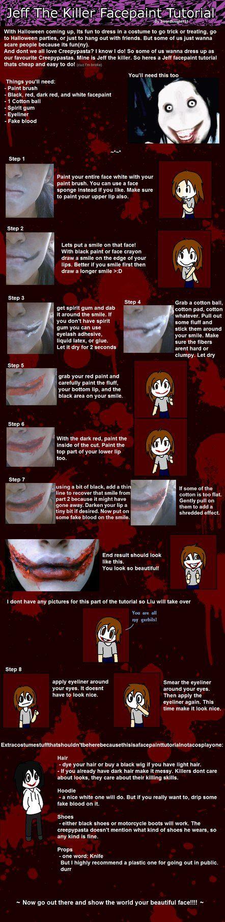 Jeff The Killer Makeup Tutorial jeff the killer cosplay tips. good ...