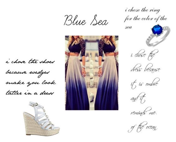 """Blue Sea"" by m412gilmore on Polyvore featuring GUESS"
