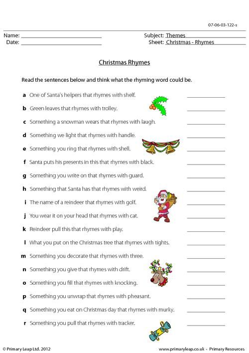 PrimaryLeapcouk  Christmas  Rhymes Worksheet  Christmas