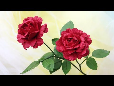 Abc Tv How To Make Rose Paper Flower Craft Tutorial Youtube Paper Flowers Paper Flower Video Flower Crafts