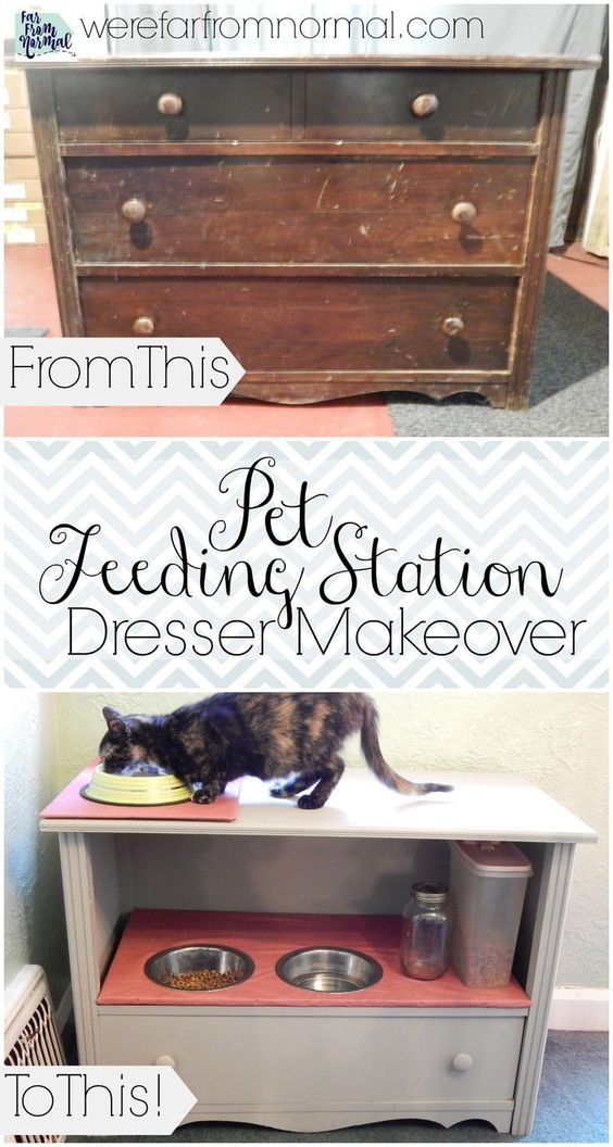 Check out this transformation!! Such a great way to make an old ugly dresser into something pretty & useful!: