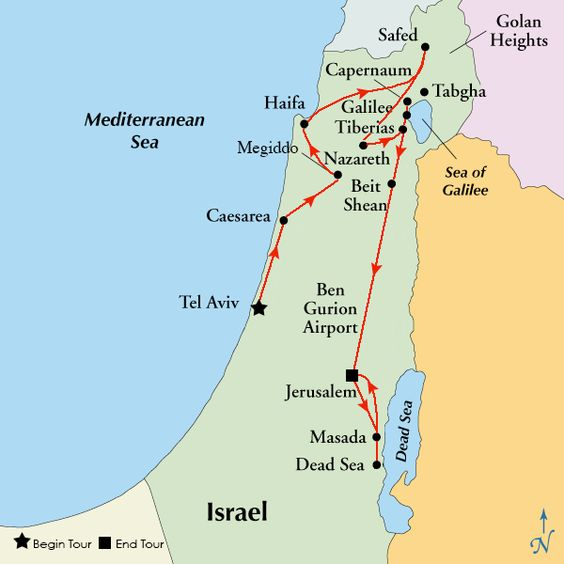 Mt Beatitudes map – Tourist Map of Israel