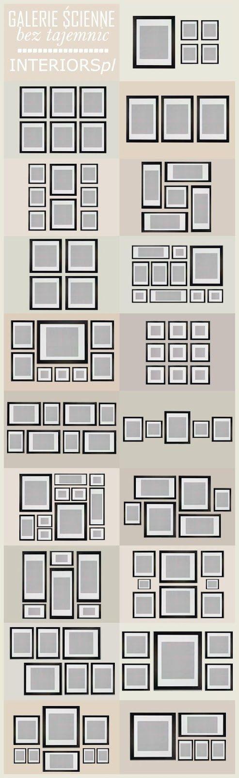 Gallery wall picture frame organization ideas. Organización e ideas de una galería de Marcos de fotos.