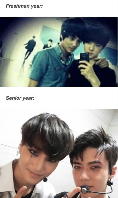"""Kai and Sehun - omo...  what would university years look like then..   that """"selca smile"""" on Kai is beyond words...   he looks like a different person in selcas than when he's posing for pro pics..  and it's infinitely more gorgeous.."""