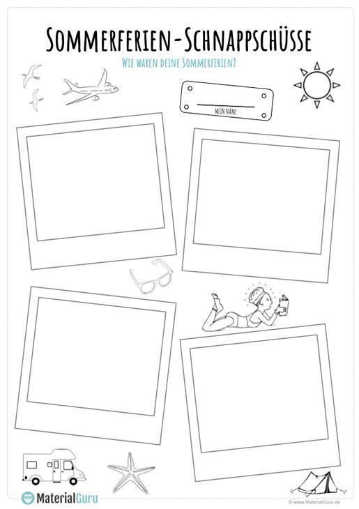 Sommerferien Polaroids Kostenlose Arbeitsblatter Kindergartenbeginn Schule
