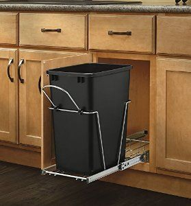 Amazon.com: Rev-A-Shelf - RV-12KD-18C S - Single 35 Qt. Pull-Out Black and Chrome Waste Container with Rear Basket: Home & Kitchen