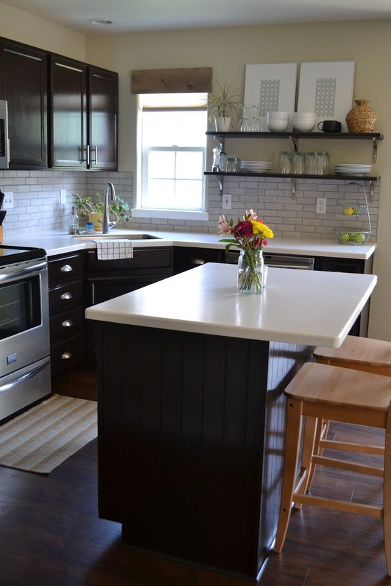 Stains islands and house tours on pinterest for Can i stain my kitchen cabinets darker