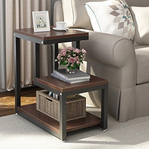 Tribesigns Rustic End Table 3 Tier Chair Side Table Night Stand With Storage Shelf For Living Room Bedroom Espresso In 2020 Chair Side Table Rustic End Tables Modern End Tables