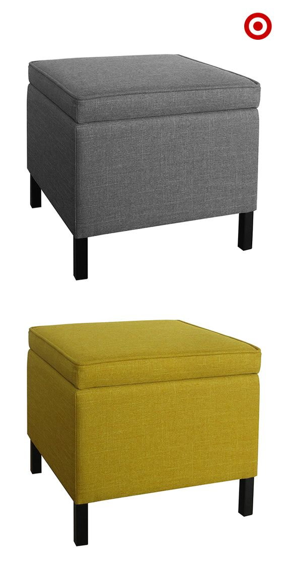 Small spaces tip: make your seating serve dual purposes in the living room. A storage ottoman is the perfect item to use as storage, and extra seating that can be easily moved around. Plus, putting two together turns them into a modern take on the coffee table.
