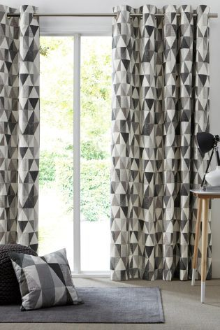 Buy Charcoal Textured Geo Print Eyelet Curtains from the Next UK ...
