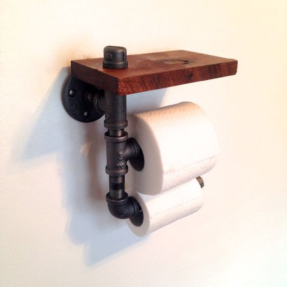 Double toilet paper holder reclaimed wood pipe - Bathroom towel and toilet paper holders ...